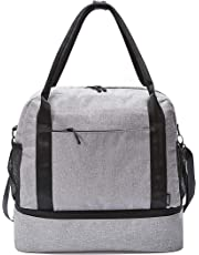 Carry-on Tote Duffel Bag with Bottom Zippered Compartment, Slides Over Luggage Handle