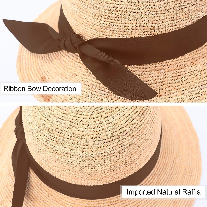 RIONA Damen Sommer Handgewebte Faltbare Wide Brim Fischer 100/% Bast Straw Sonnenhut