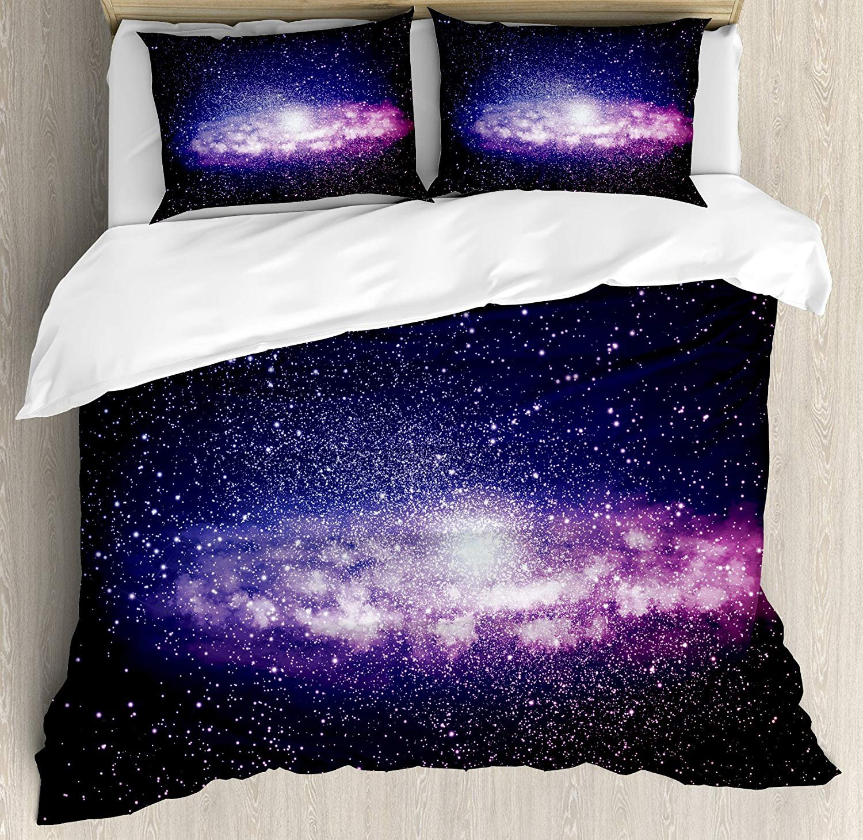 IDOWMAT Galaxy Twin Duvet Cover Sets 4 Piece Bedding Set Bedspread with 2 Pillow Sham, Flat Sheet for Adult/Kids/Teens, Nebula Cloud in Milky Way Infinity in Interstellar Solar System Design Print