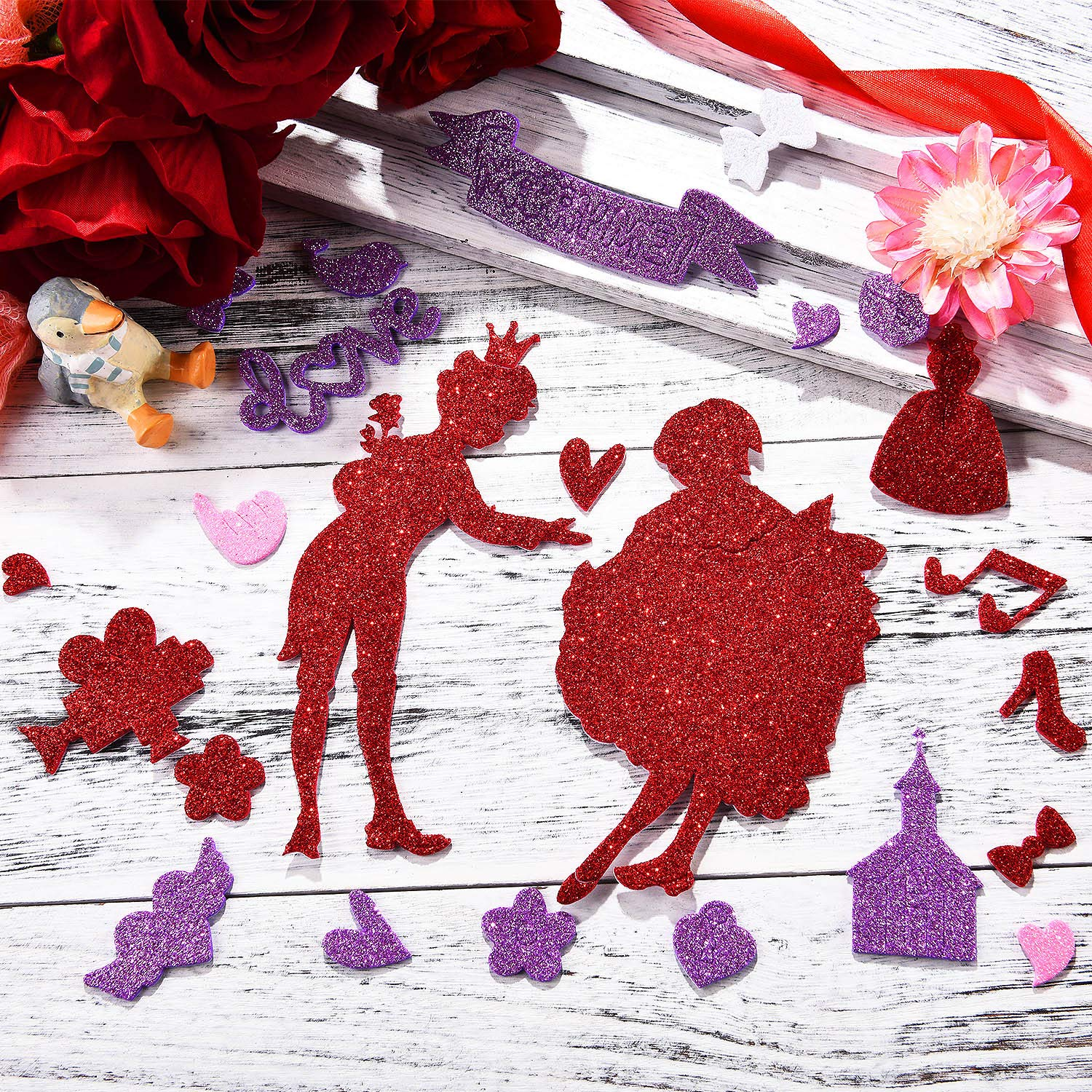 WILLBOND 500 Pieces Valentines Day Stickers Glitter Foam Stickers Self-Adhesive Craft Stickers for Valentines Party Decoration DIY Crafts Supplies
