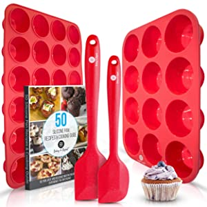 Baking & Beyond Premium Silicone Muffin Pan and Cupcake Pans - Large 12 Cup Muffins Tray, 24 Cups Mini Cupcakes Pan, 2 Spatulas, Recipe E-book | Non Stick Baking Molds Set | Oven & Dishwasher Safe