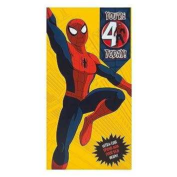 hallmark spiderman 4th birthday card ultimate hero medium slim