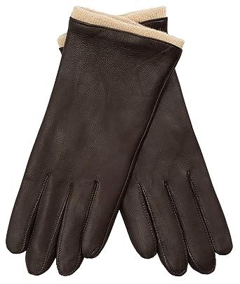 2ed947ce5ba95 EEM Damen Leder Handschuhe MALIKA aus Lammnappaleder, sichtbare Stulpe aus  Wolle, warm, modisch, elegant