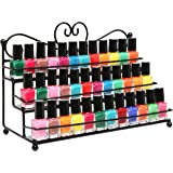 MyGift Metal Heart Design / 3 Tier Nail Polish Rack / Table Top Organizer Display- Black