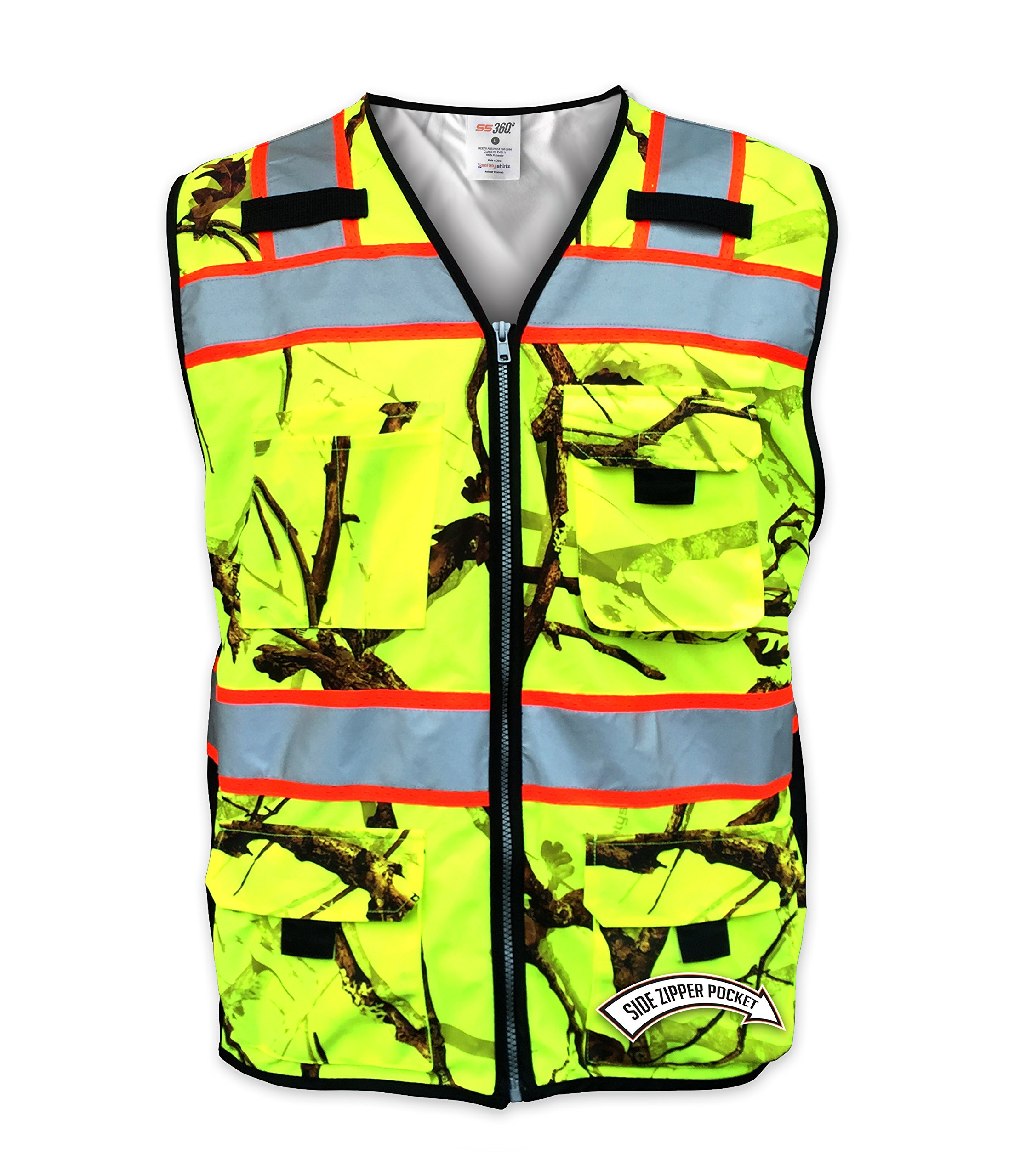 SafetyShirtz SS360 Backwoods Camo ANSI Class 2 Safety Vest XL
