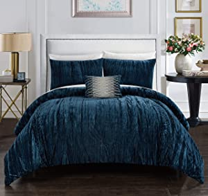 Chic Home Westmont 4 Piece Comforter Set Crinkle Crushed Velvet Bedding - Decorative Pillow Shams Included, King, Navy
