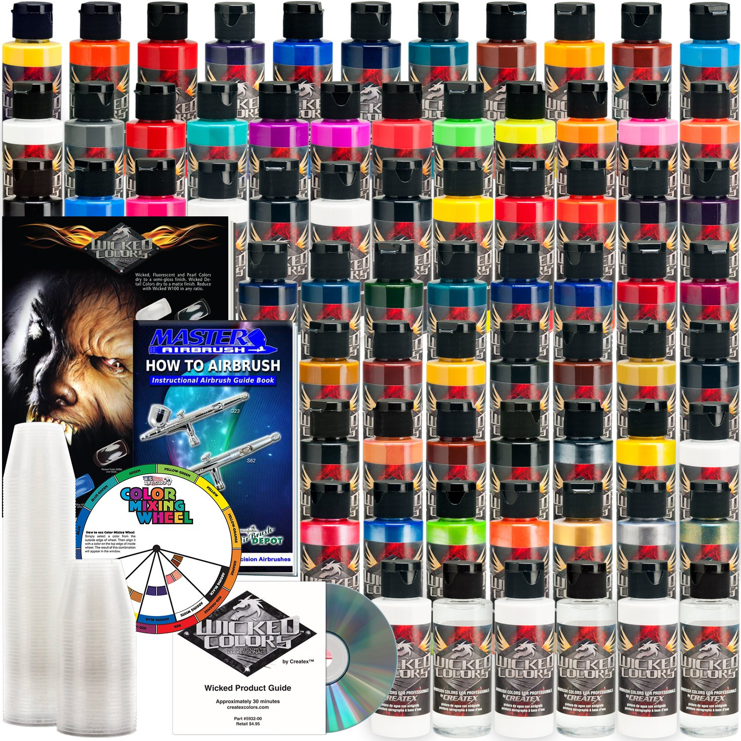 66 CREATEX Wicked Colors 2oz Complete Colors Airbrush Paint Set