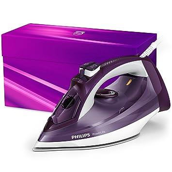 Philips PowerLife - Plancha (Plancha a vapor, Suela de SteamGlide, 160 g/min, Púrpura, Blanco, 45 g/min, 0,32 L): Amazon.es: Hogar