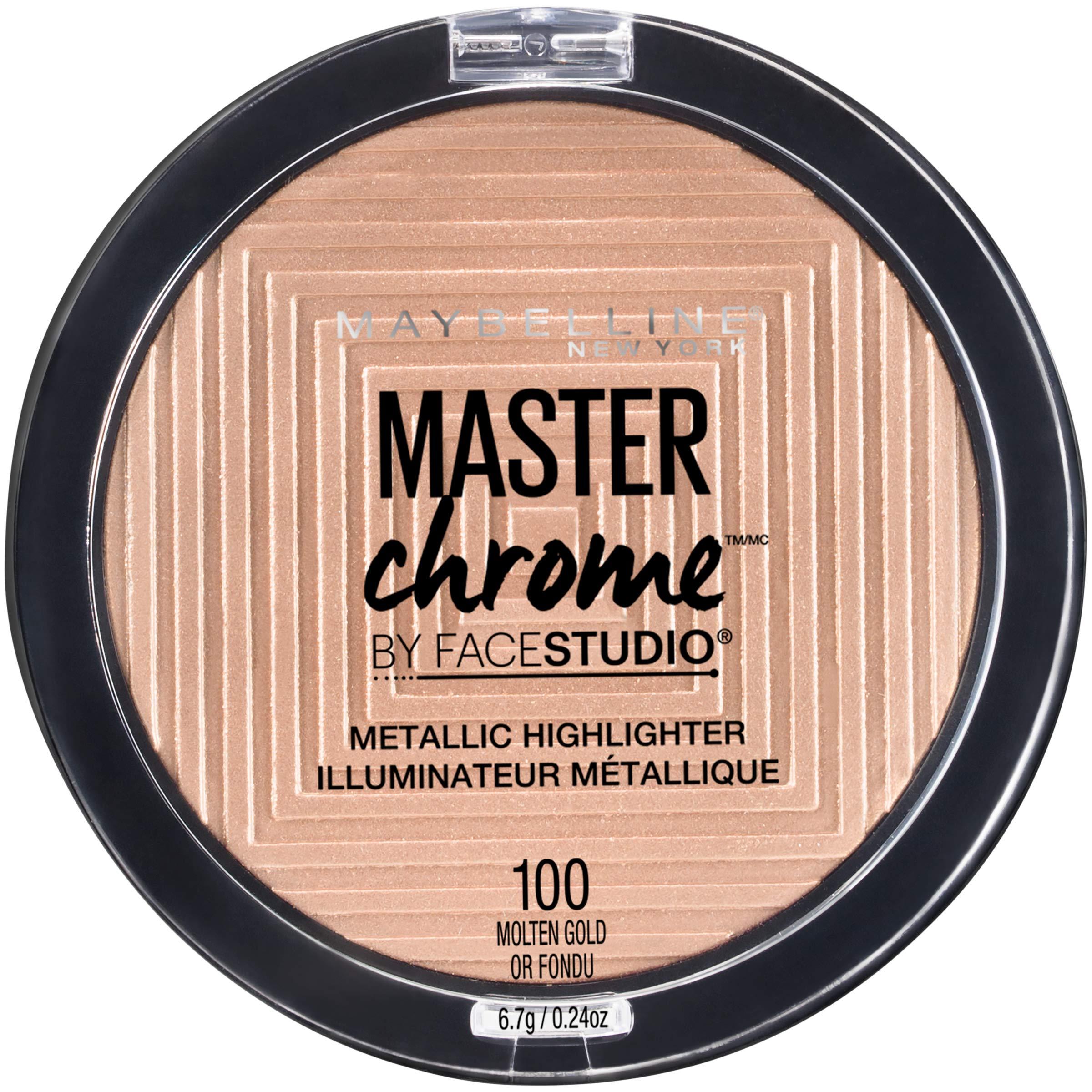 Maybelline New York Facestudio Master Chrome Metallic Highlighter Makeup, Molten Gold, 0.24 oz.
