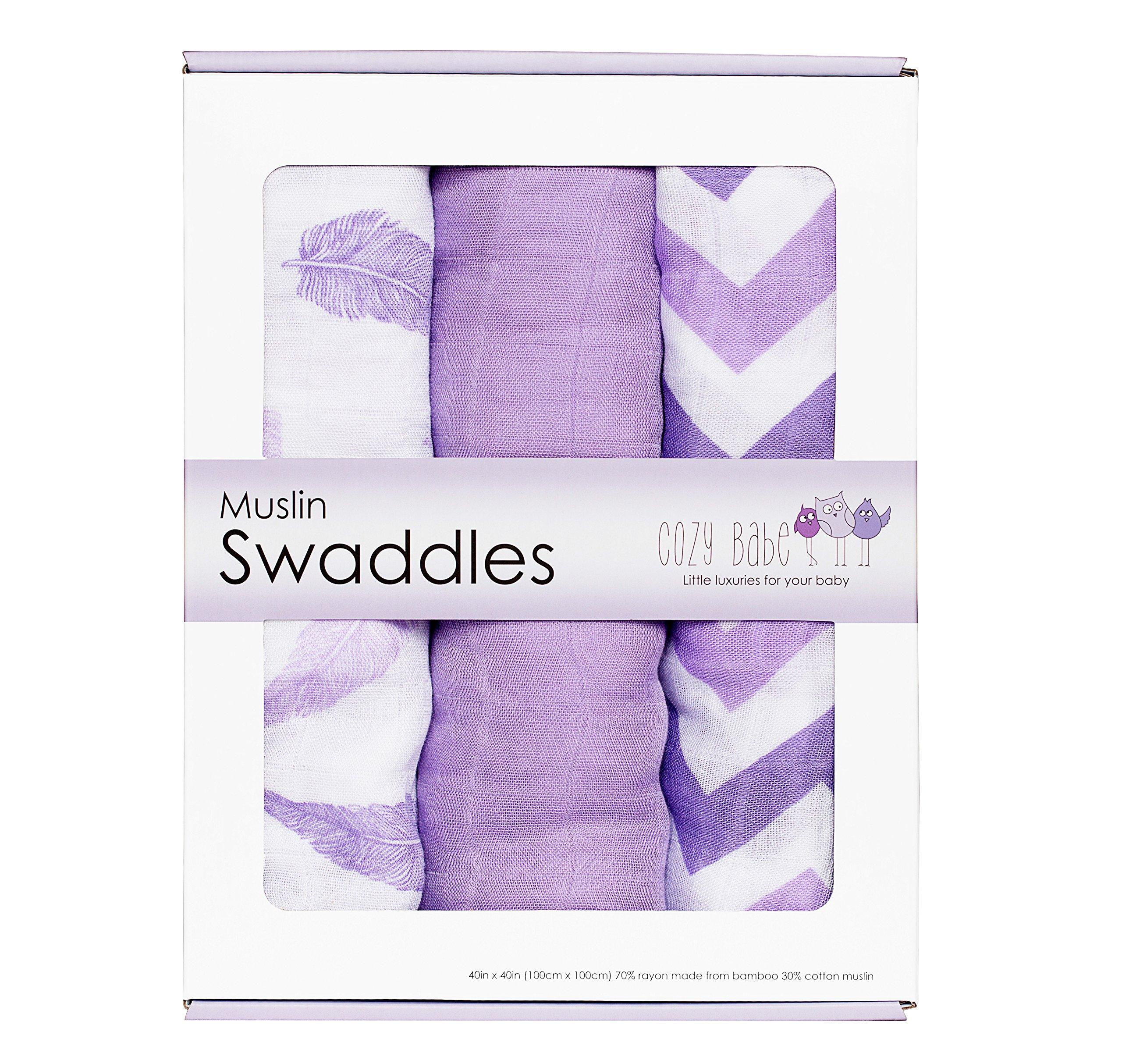 Amazon Com Bamboo Muslin Swaddle Blankets 3 Pack Aqua