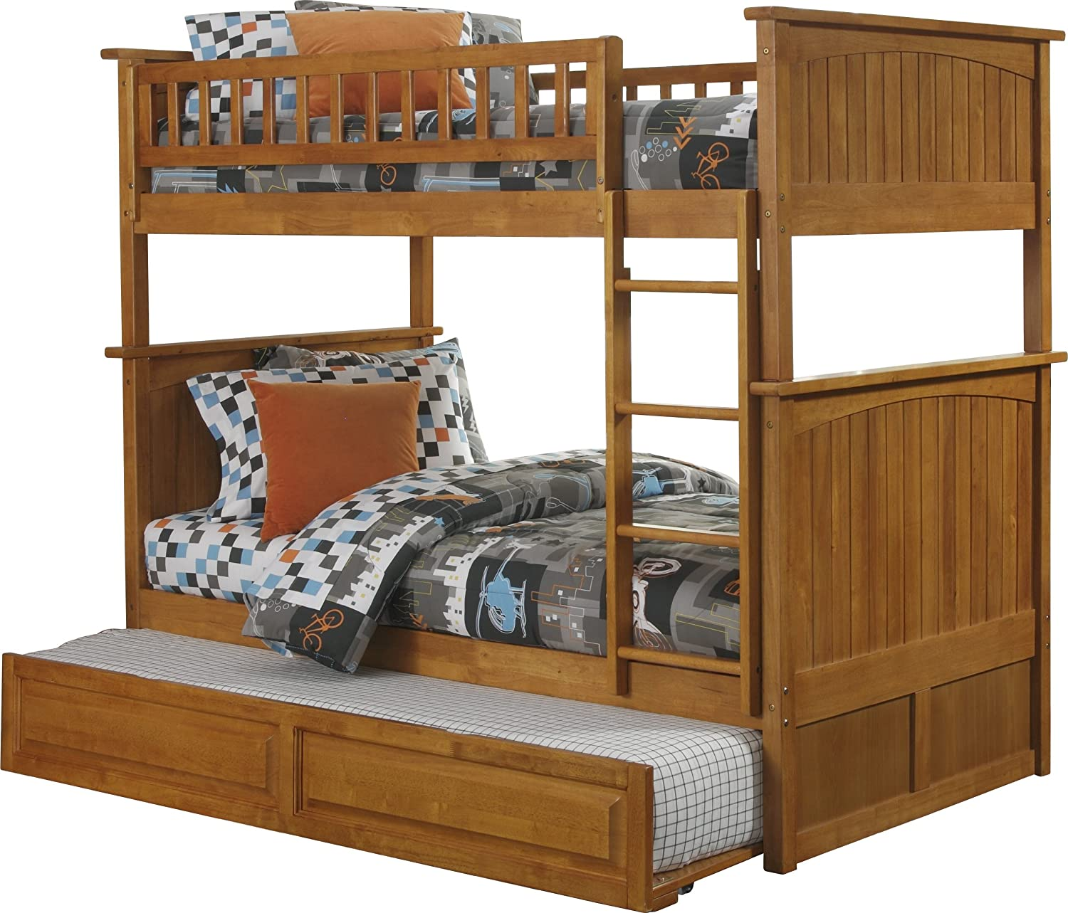 Amazon.com: Nantucket Bunk Bed With Raised Panel Trundle Bed, Twin Over  Twin, White: Kitchen U0026 Dining