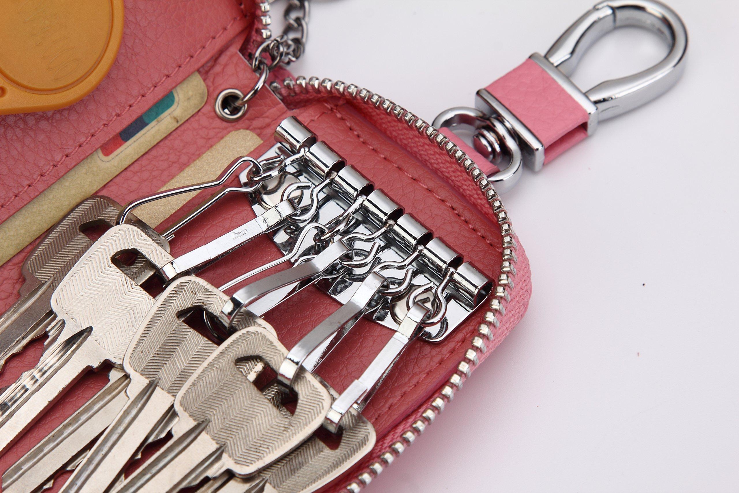 Women's Genuine Leather Zipper Key Case Car Key Holder 6 Hook Key Wallet (Pink) by ZORESS (Image #4)