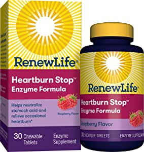 Renew Life - Heartburn Stop - gas, bloating, and digestive relief - enzyme supplement - 30 Raspberry flavor chewable tablets