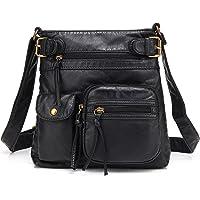 Scarleton Ultra Soft Multi Pockets Washed Leather Accent Top Belt Crossbody Bag Shoulder Purses for Women H1833