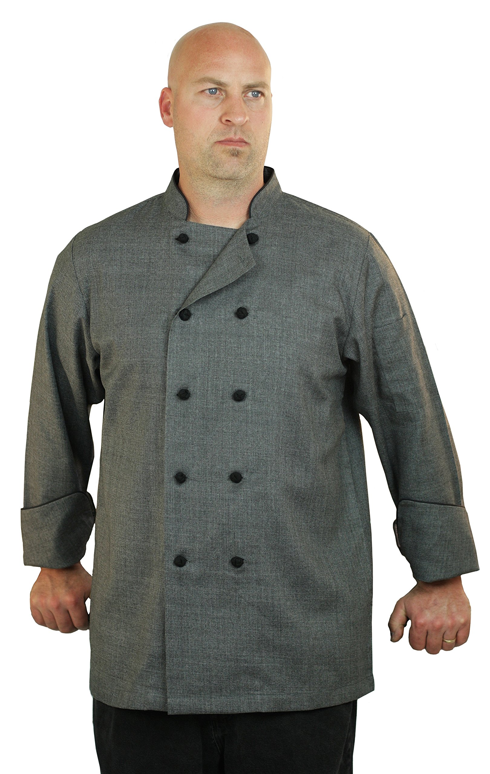 ASD Living Premium Sateen Heather Grey Long Sleeve Chef Coat,X-Large