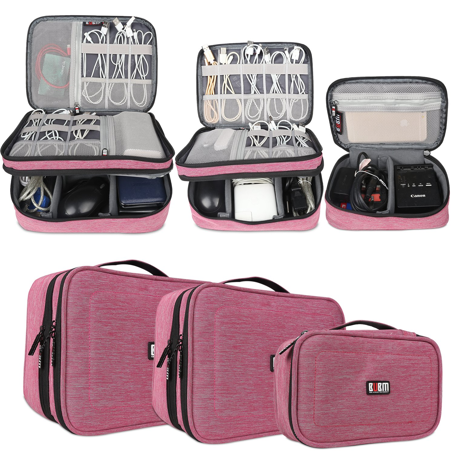 Memory Cards CF Cards and More-a Sleeve Pouch Fits for iPad BUBM Gadget Organizer Case Plugs Ultra-Compact Electronics Organiser for Data Cables Chargers Large, Black