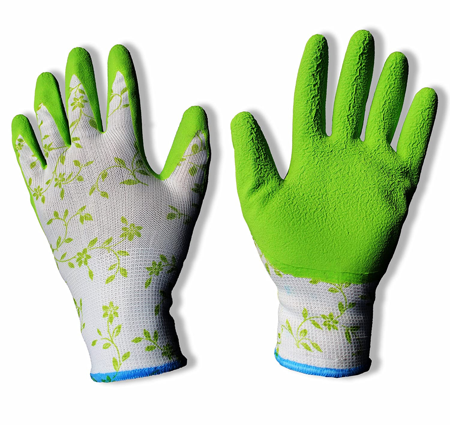 2pair-Ladies Elegant, Slim Fit, Latex Stretchable Gardening Gloves. Beautiful summer look-n-feel. Perfect for Garden and House Choirs. Non-slip and Ideal Gift Bagged. BUNDLE SAVINGS (2) MIC