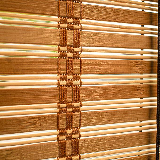 ALEKO Natural Bamboo 32 X 72 In Light Brown Midollino Blinds