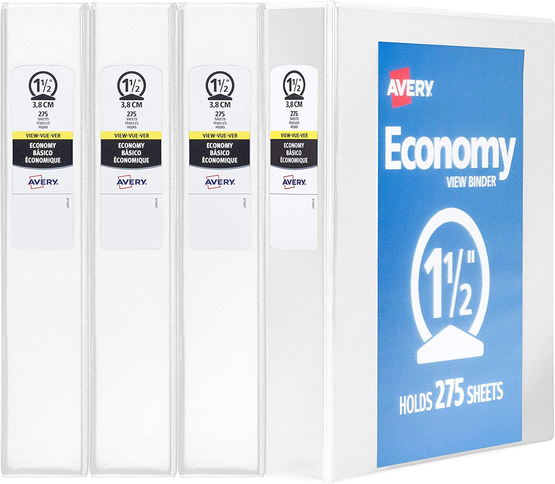 - New 1 White Binder 5741 Avery 3 Economy View 3 Ring Binder Round Ring Holds 8.5 x 11 Paper