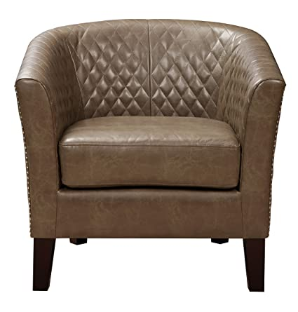 Superbe Pulaski Brown Faux Leather Upholstered Bucket Accent Chair With Nailhead