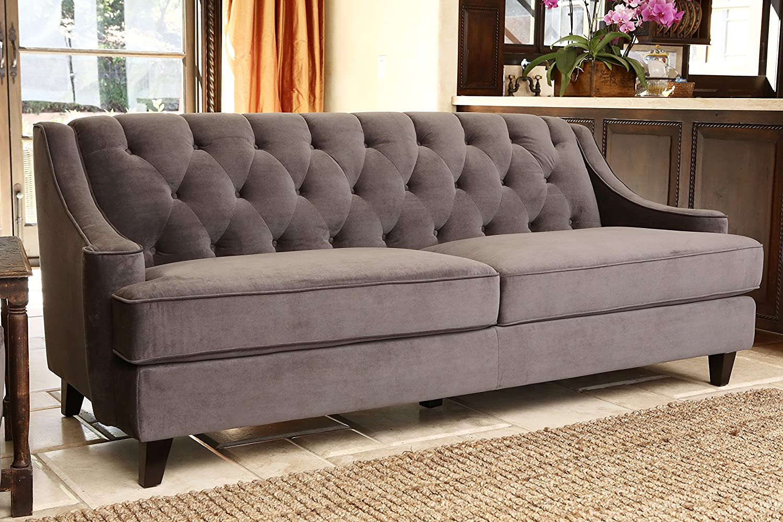 Amazon.com: Abbyson Emily Velvet Fabric Tufted Sofa, Grey: Home U0026 Kitchen