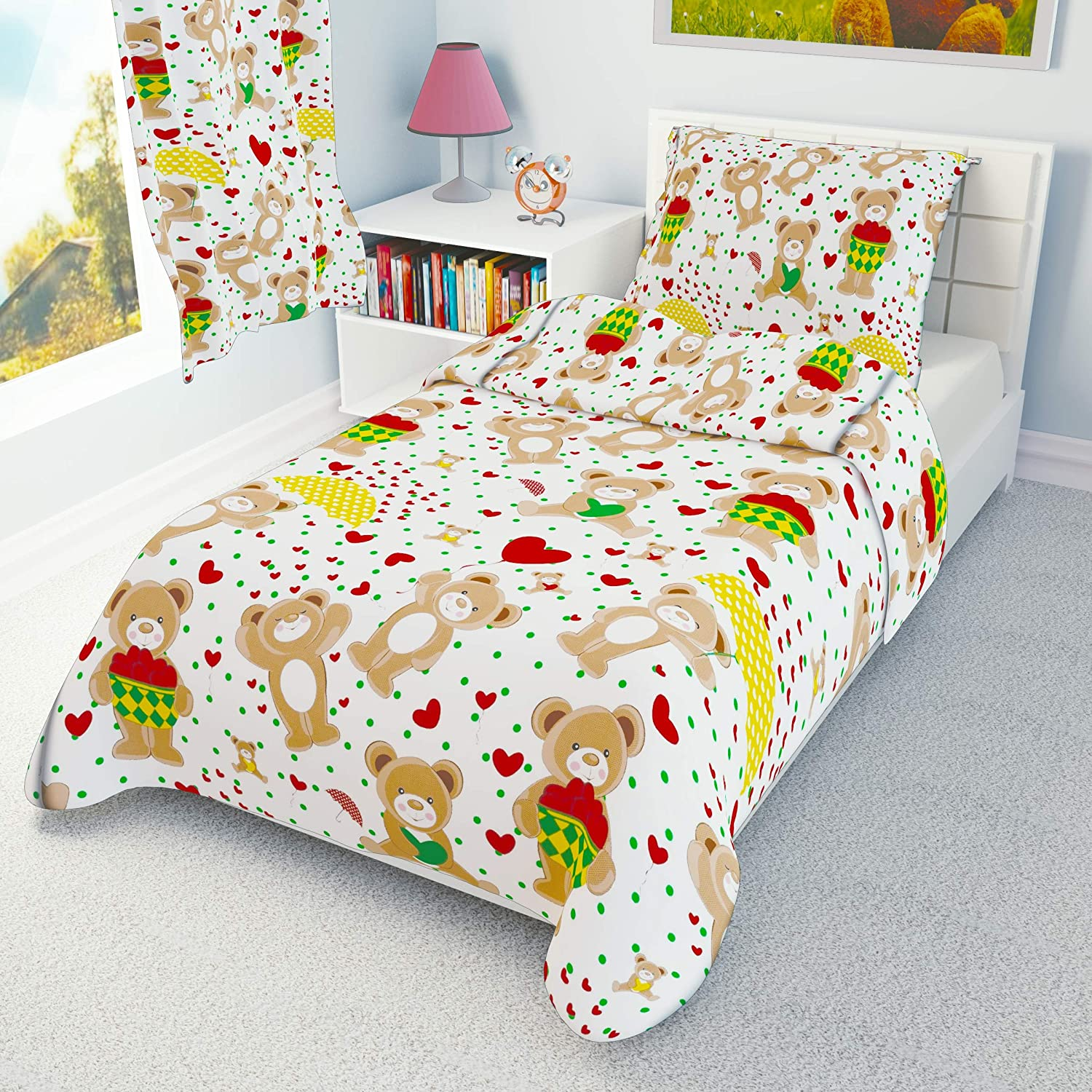 Red Love Hearts Teddies Toddler cot Bed Bedding Set Duvet Cover Pillowcase 120x150 cm 100/% Cotton