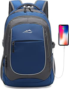 Backpack for School College Student Laptop Business Travel Bookbag with USB Charging Port Luggage Chest Strap Night Light Reflective (Blue)