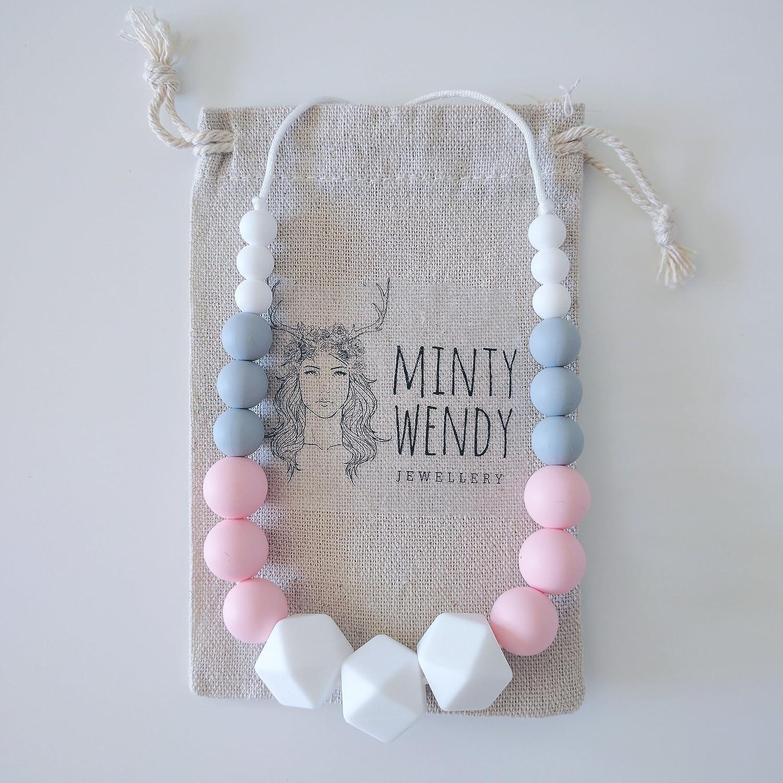 Fête des mères - Collier d'allaitement de portage de dentition MintyWendy - Marie Rose bonbon