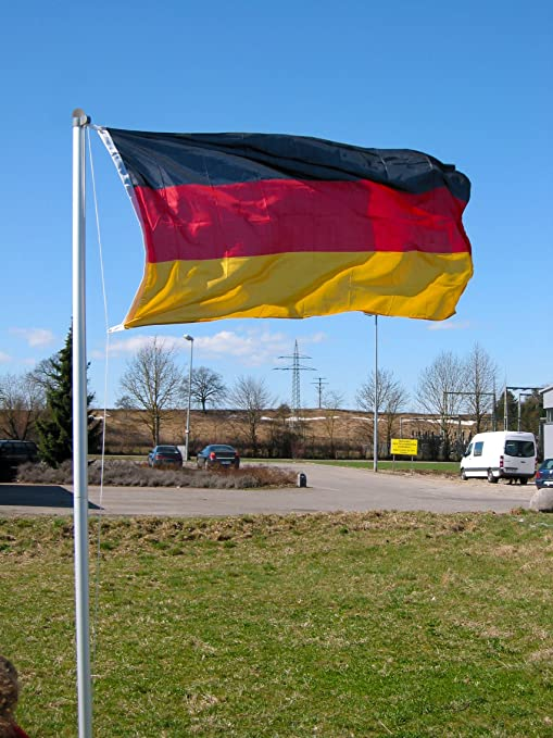 Mástil de bandera de 4 piezas 6, 2 m (incluye bandera de Alemania): Amazon.es: Jardín