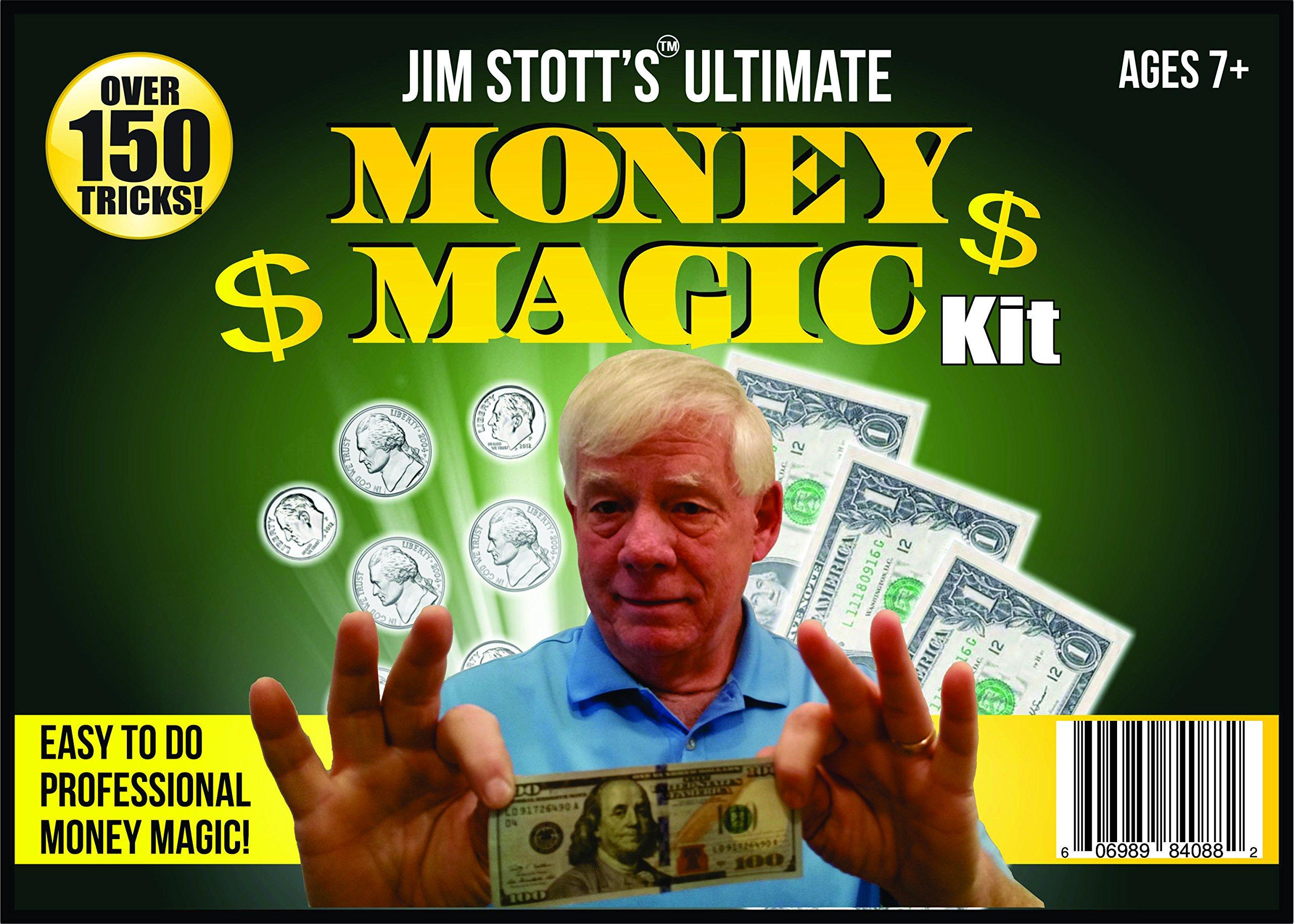 Jim Stott's 'Ultimate Money Magic Kit, Magic Tricks Set for Adults, Coin Thru Glass, Flying Coins, Magic Pen Penetration, The Money Maker, Folding Paper Mystery, The Ultimate Levitation System by Jim Stott Magic