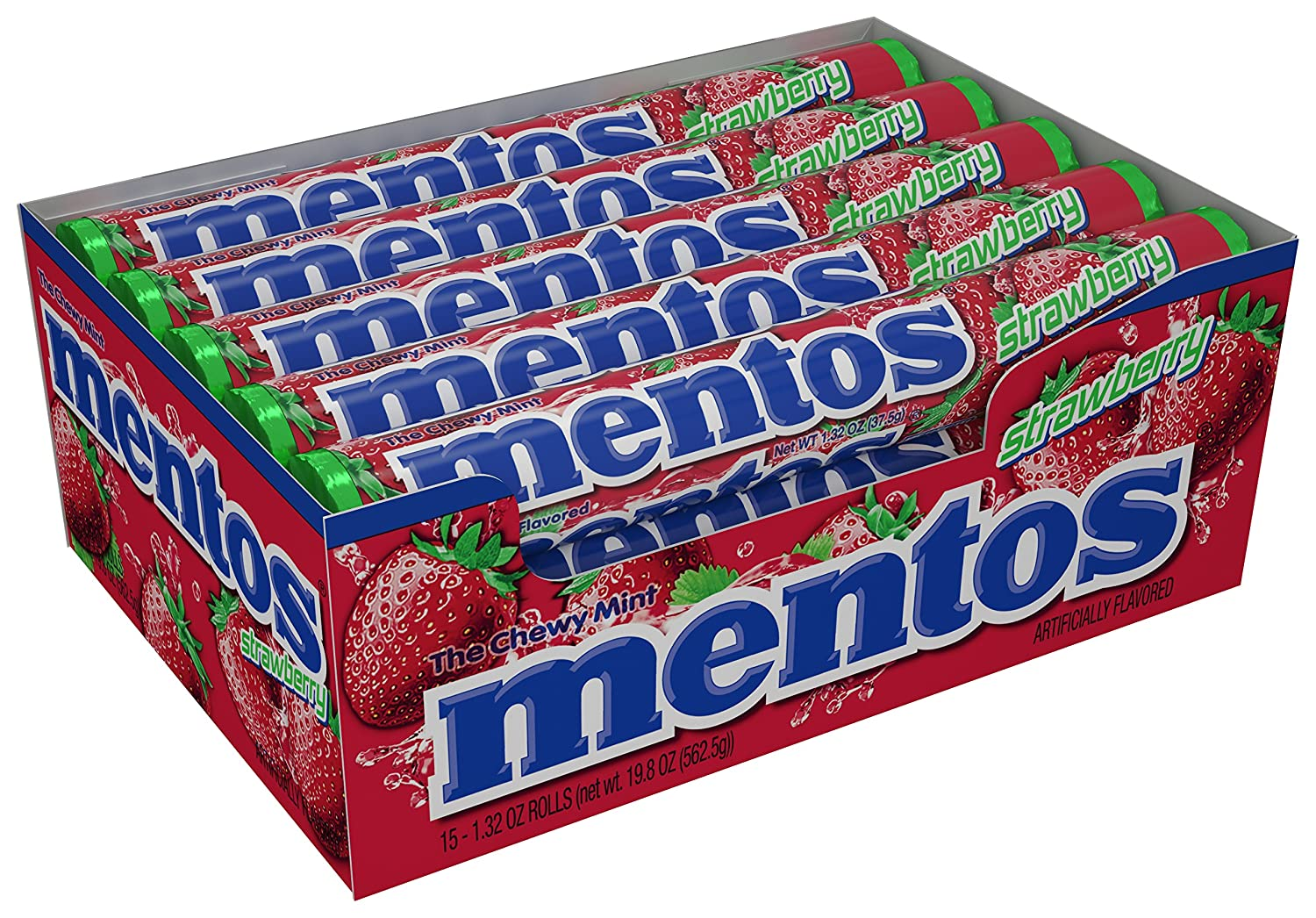 Mentos Chewy Mint Candy Roll, Strawberry, Non Melting, Party, 14 Pieces (Bulk Pack of 15)