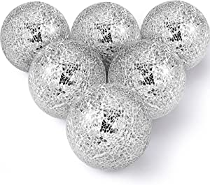 6 Pieces Mosaic Sphere Balls 4 Inch Decorative Glass Balls Decorative Orbs Table Centerpiece Balls Round Glass Ball Bowl Filler for Bowls Vases Dining Coffee Table Decor (Silver)