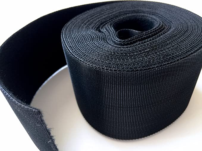 Black Nylon Cable Tie Roll AIRNIX 2 in Double Sided Hook /& Loop x 75 ft