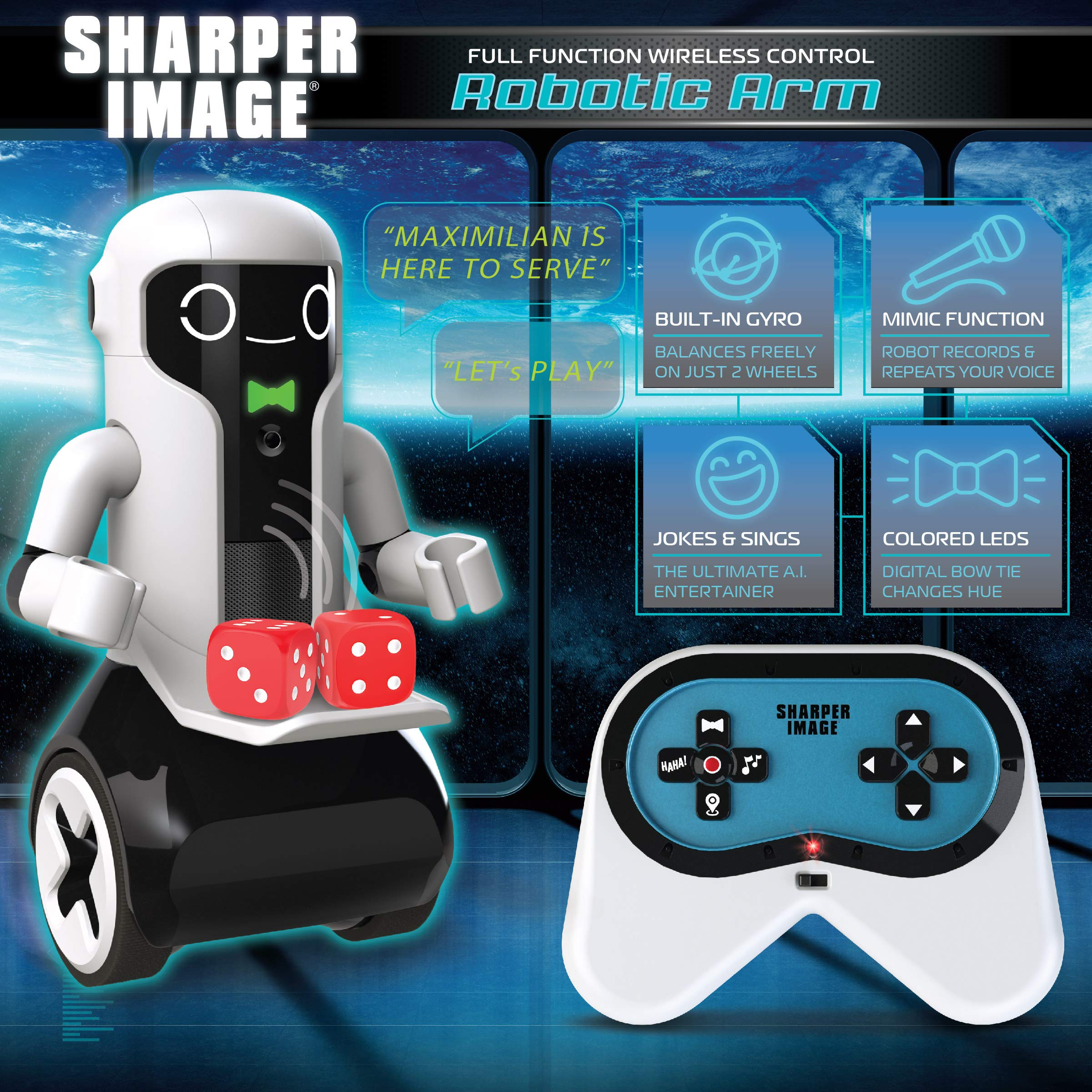 Sharper Image Maximilian The RC Butler Bot, Interactive Remote Control Robot with Speech, Singing, Audio Recording, Motion Detection, Color-Coded Emotional Responses by Sharper Image (Image #3)