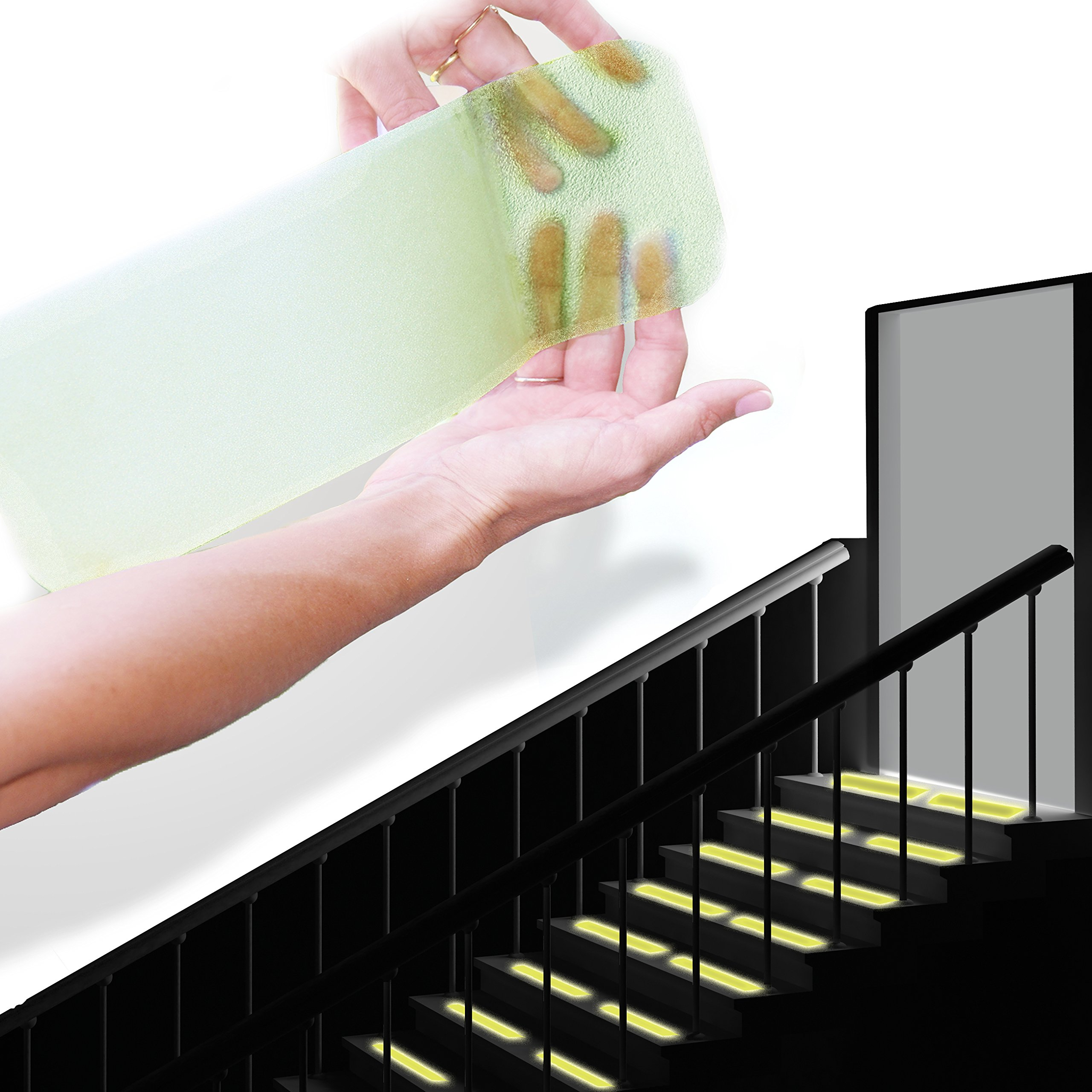 """StepStrips StepTips Anti Slip Tape''Stair Treads'' Clear & Glow in The Dark for Safety Non Slip Grip 20 Pack 4""""x12"""" Pre Cut Skid Strips Traction Non Abrasive PVC Free for Bare Feet Kids, Elders & Dogs"""