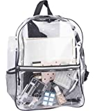 Transparent Vinyl Security Backpack by Bags For Less-All Clear Stadium Safety Travel Rucksack with Black Trim-Adjustable Straps & Mesh Side