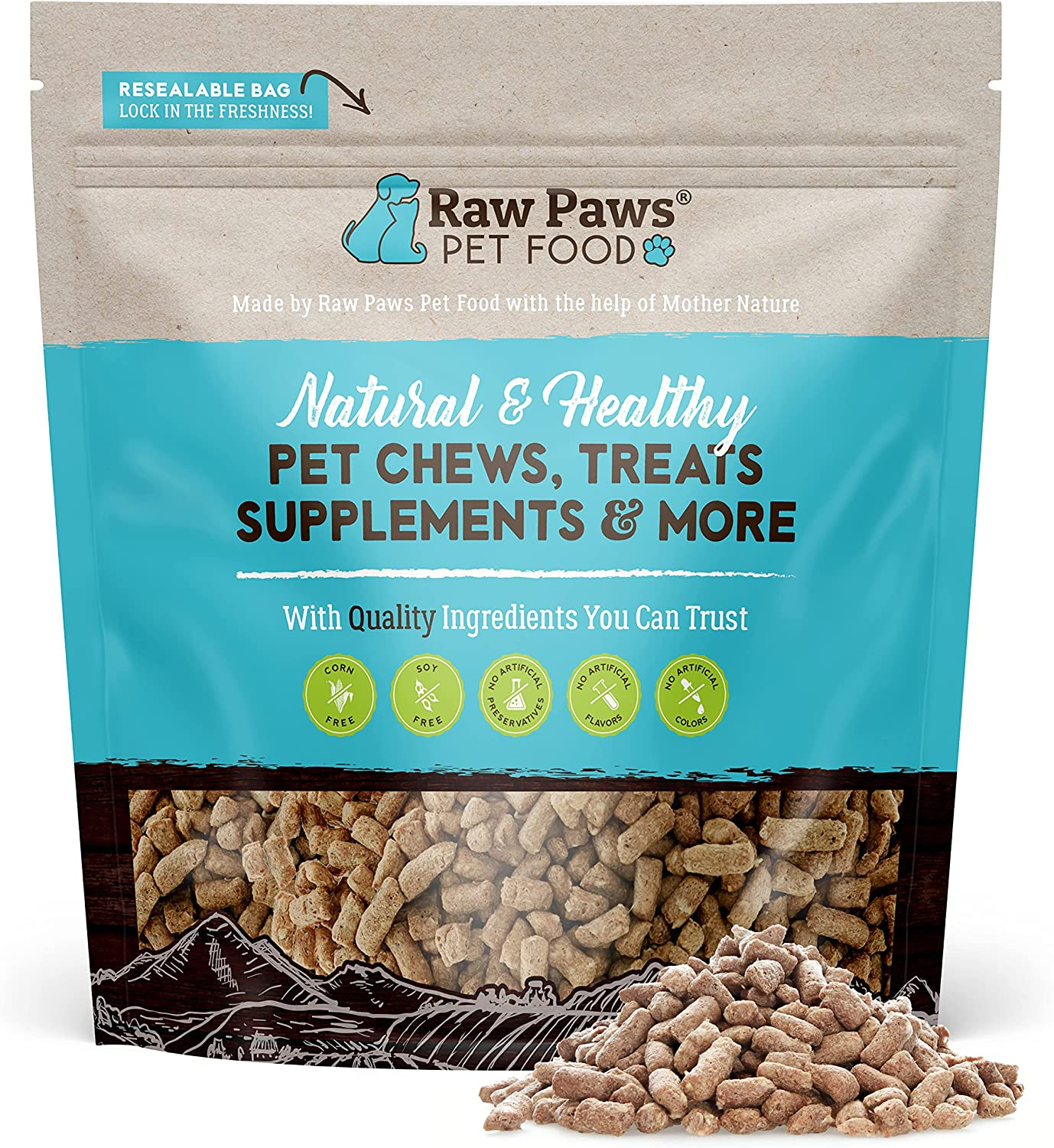 Raw Paws Premium Raw Freeze Dried Dog Food & Cat Food, 16 oz - Antibiotic-Free - Made in USA Only - Grain, Gluten and Wheat Free - All Natural Pet Food
