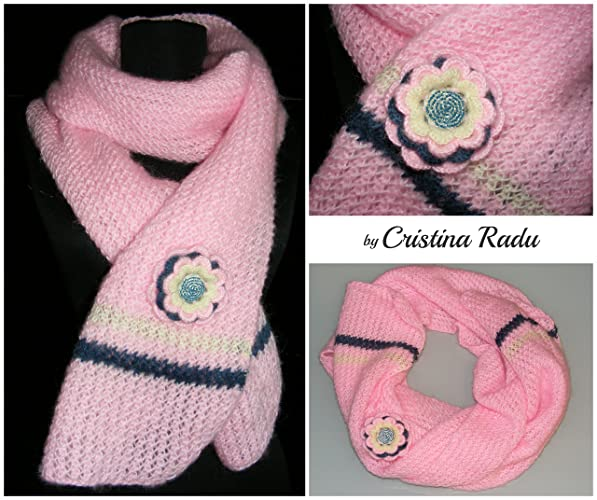 Mohair Scarf Pink Scarf Christmas Gift Soft Scarf Crocheted