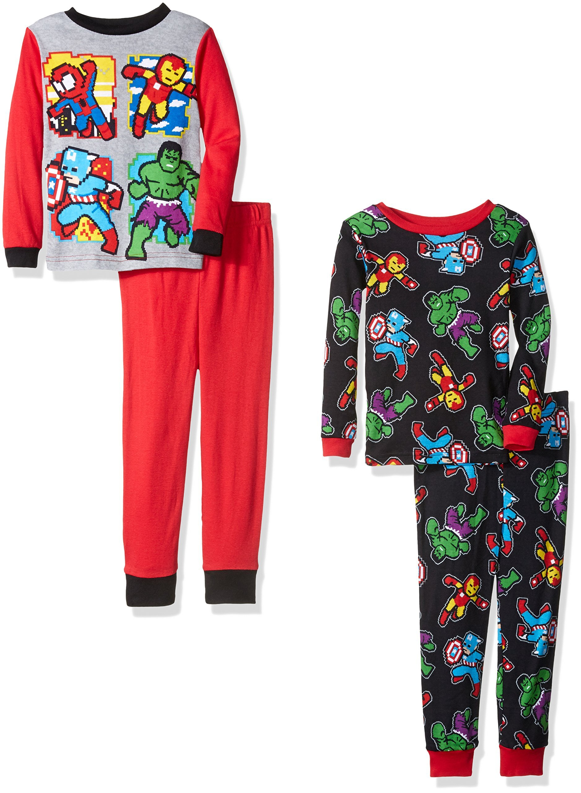 Marvel Little Boys' Avengers 4-Piece Cotton Pajama Set, Heroically Red, 6