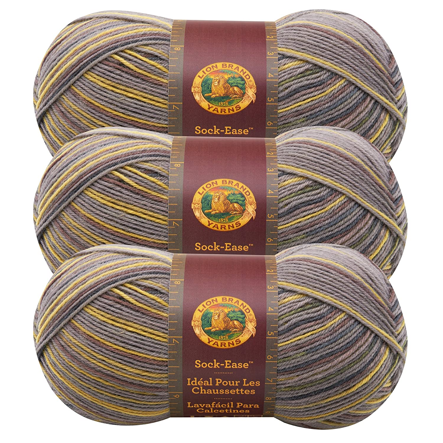Amazon.com: (3 Pack) Lion Brand Yarn 240-205L Sock-Ease Yarn, Cotton Candy