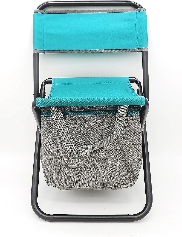 Tabulete plegables con bolsa nevera de pesca silla portátil, silla plegable de camping con doble capa tela de Oxford bolsa térmica para la pesca, Playa, Camping, casa y viaje (15 LITROS)