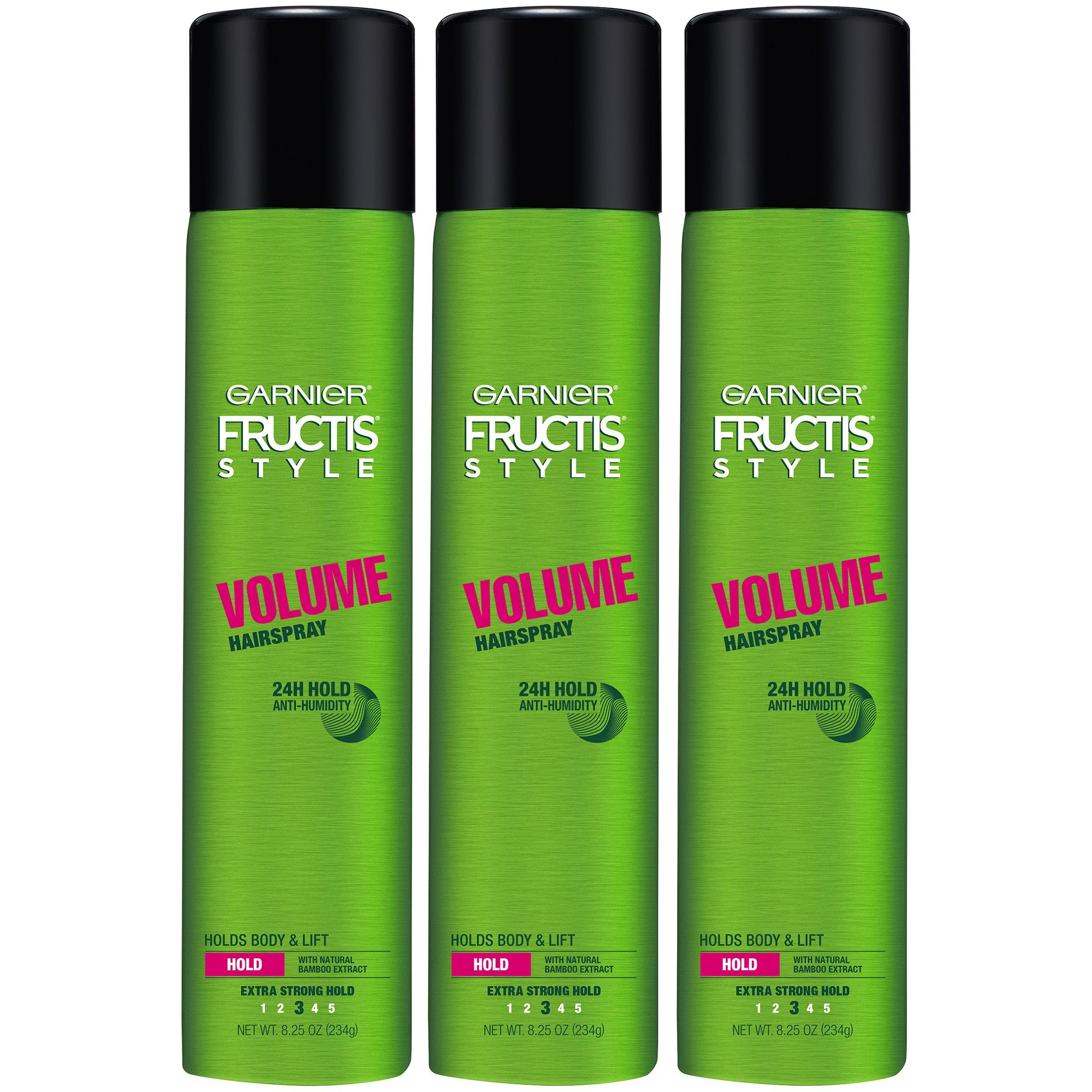 Garnier Fructis Style Volume Hairspray, All Hair Types, 8.25 oz. (Packaging May Vary), 3 Count