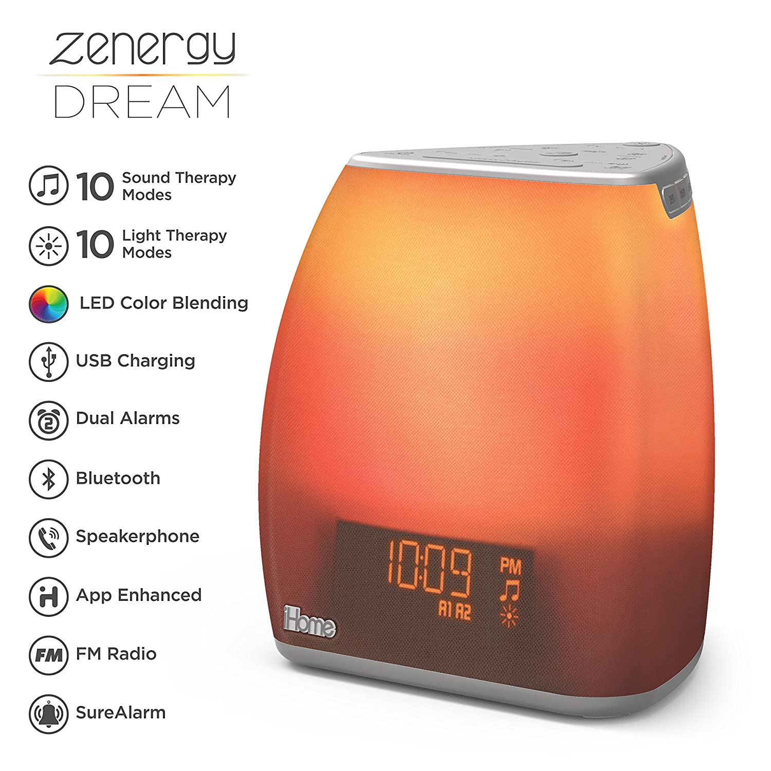 iHome Zenergy Bedside Sleep Therapy Machine Sleep Better, Easier & Longer, Zen Light & Sound Therapy Machine, Calming, Soothing Sounds, Soft Lighting, Bluetooth Audio, White Noise Machine sleep gadgets Sleep Gadgets – A Smart Way to Sleep Better To Enjoy a Healthy Day 91NN6ZfGJjL