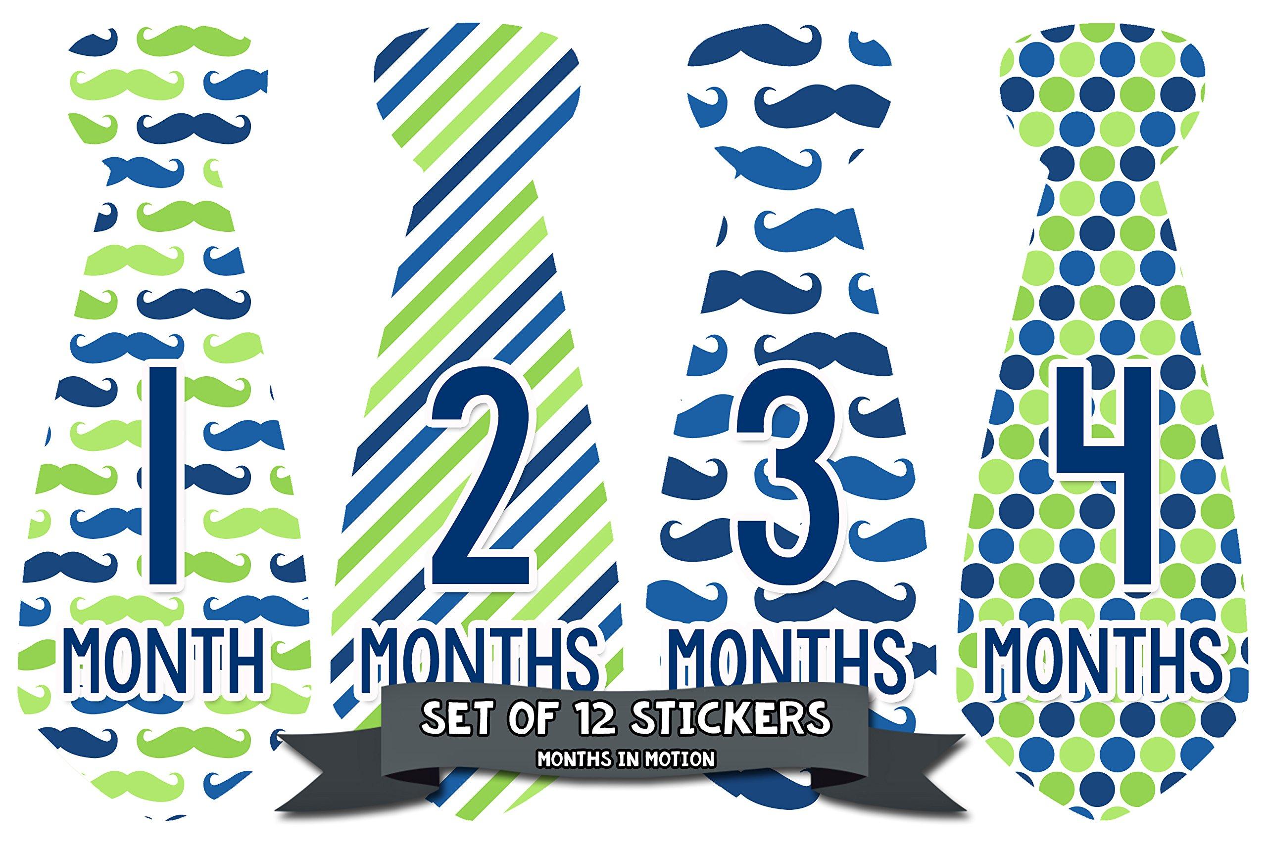 Months in Motion 740 Monthly Baby Stickers Necktie Tie Baby Boy Months 1-12