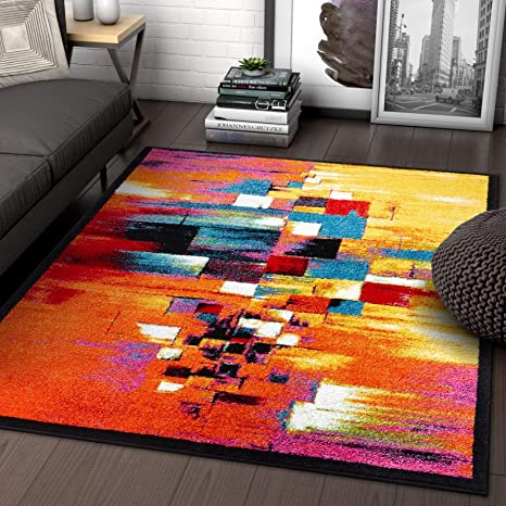 Amazon Com Champlain Multi Cubes Yellow Orange Blue Modern Abstract Painting Area Rug 5 X 7 5 3 X 7 3 Easy Clean Stain Resistant Shed Free Contemporary Art Boxes Square Geometric Line