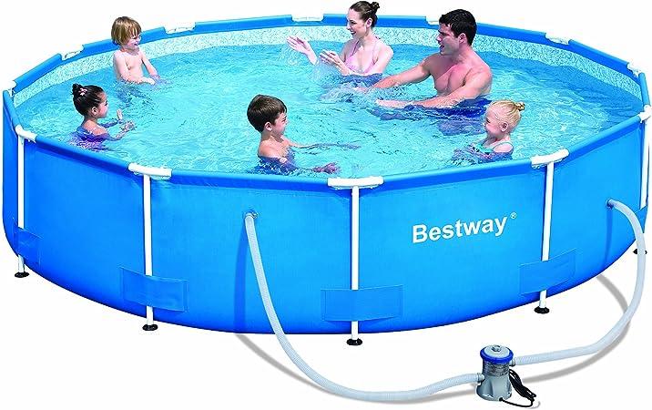Amazon.com: Set de piscina de marco redondo de acero Bestway ...
