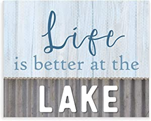 Life is Better at the Lake Wood Style Wall Sign 12x15