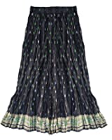 Ayurvastram Pure Cotton Crinkled or Flat Hand Block Printed Long Skirt