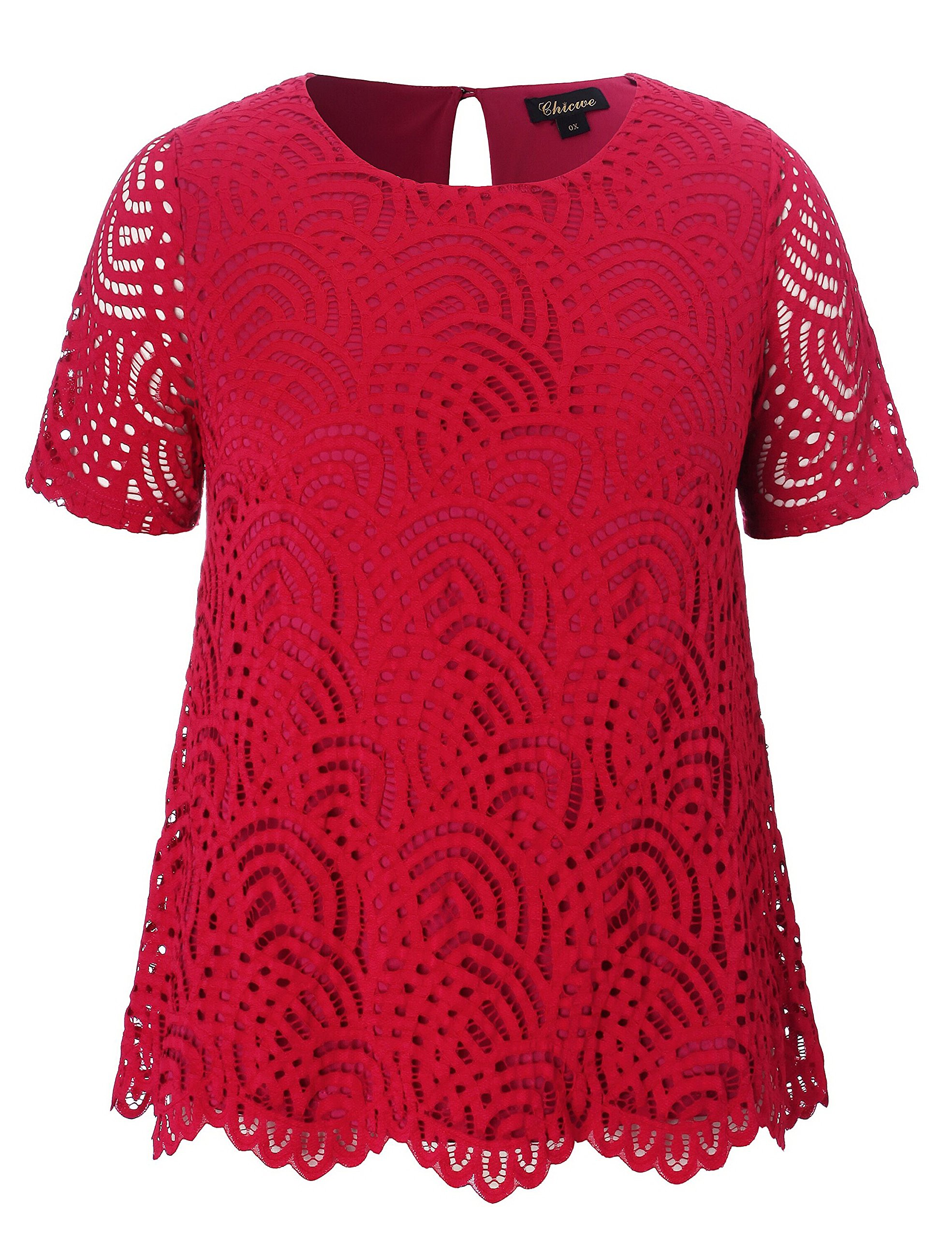 Chicwe Women's Plus Size Smart Scalloped Lace Solid Top - Casual and Work Blouse Red 2X