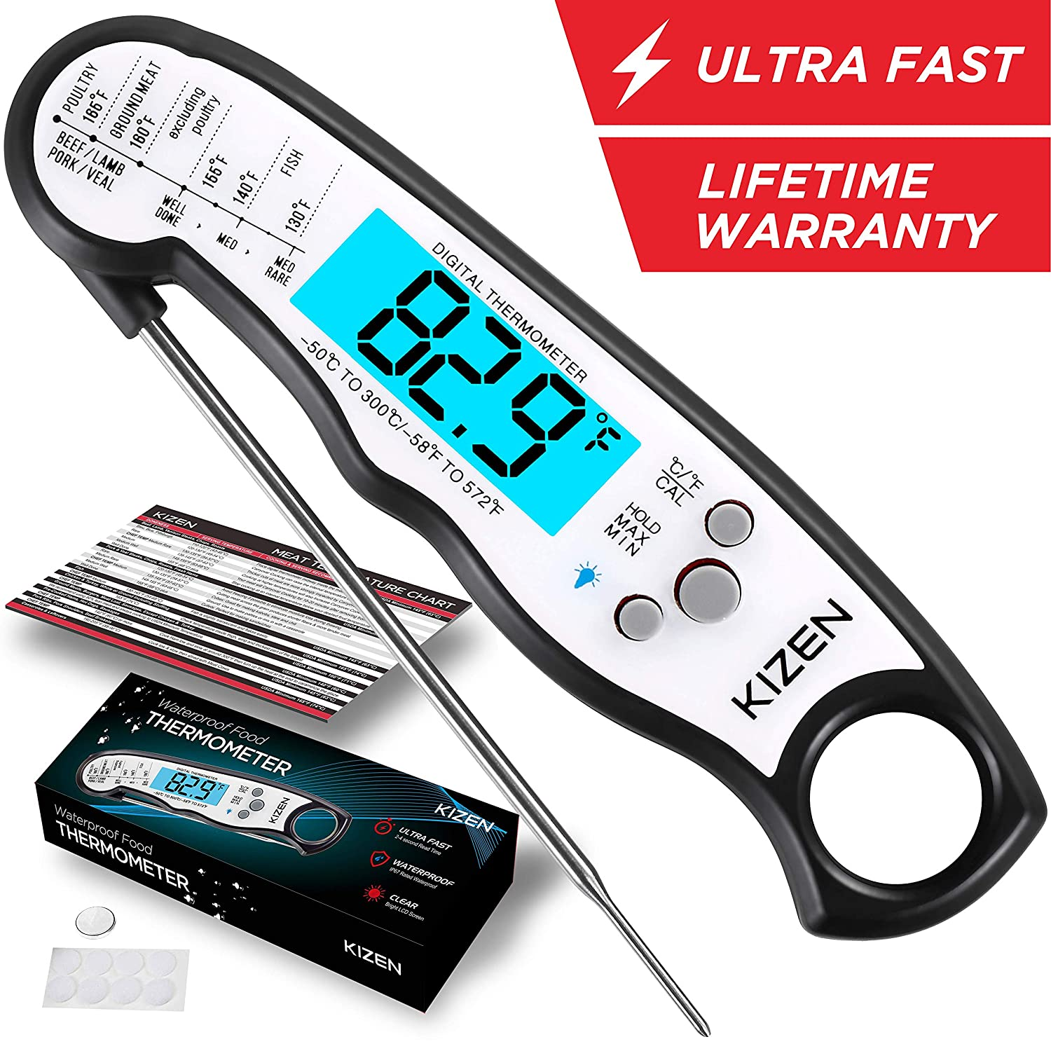 Instant Read Meat Thermometer - Best Waterproof Ultra Fast Thermometer with Backlight & Calibration. Kizen Digital Food Thermometer for Kitchen, Outdoor Cooking, BBQ, and Grill! (Jet Black)